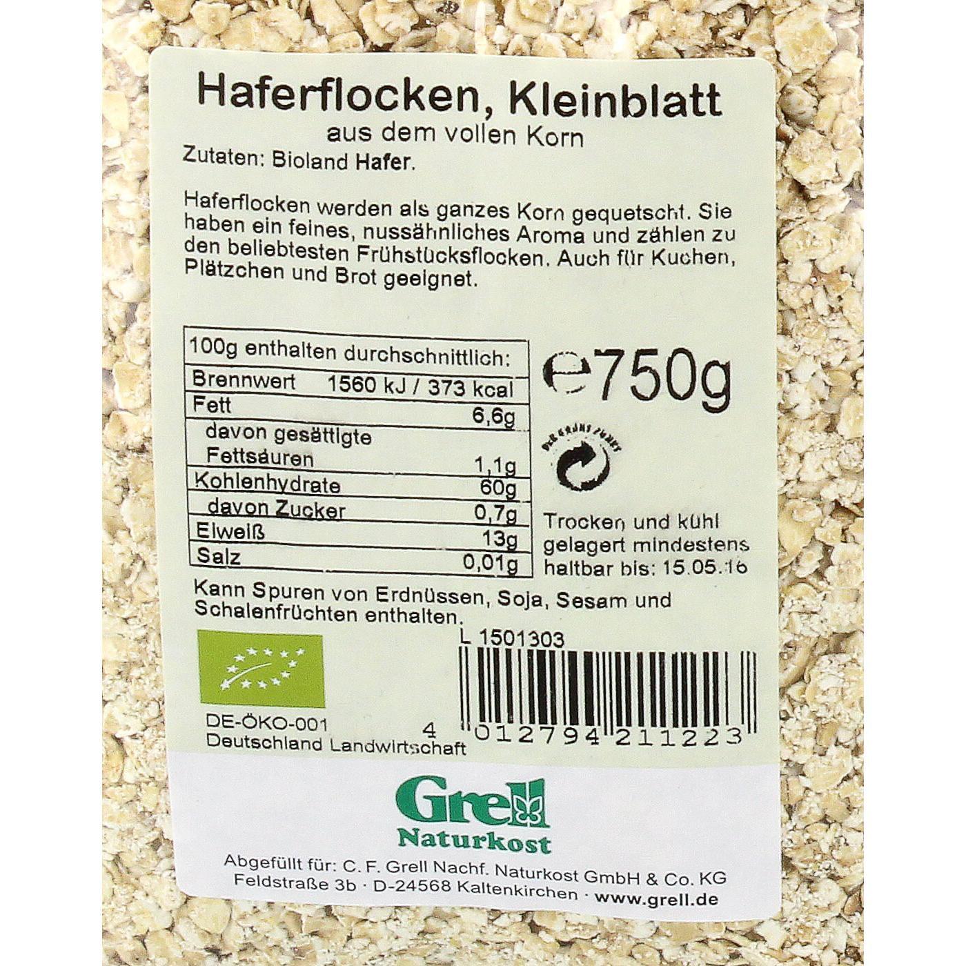 Grell Bio Haferflocken Kleinblatt 750g