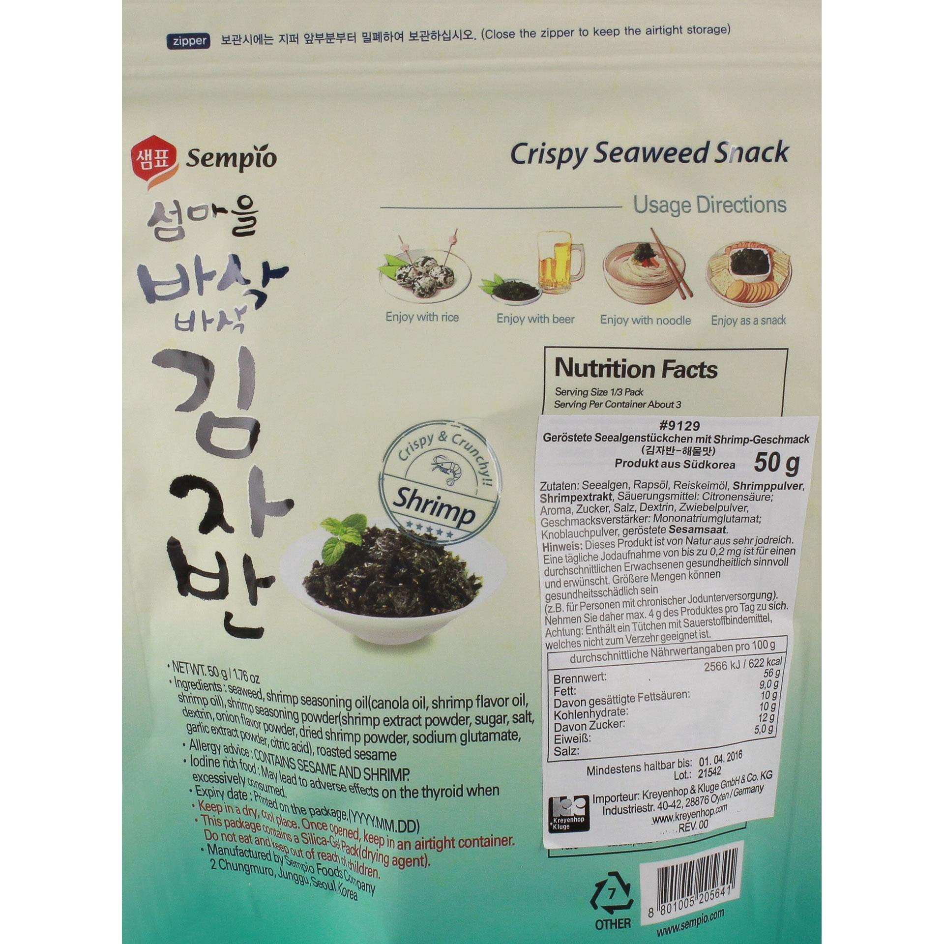 Sempio - Seealgen Snack Shrimp - 50g