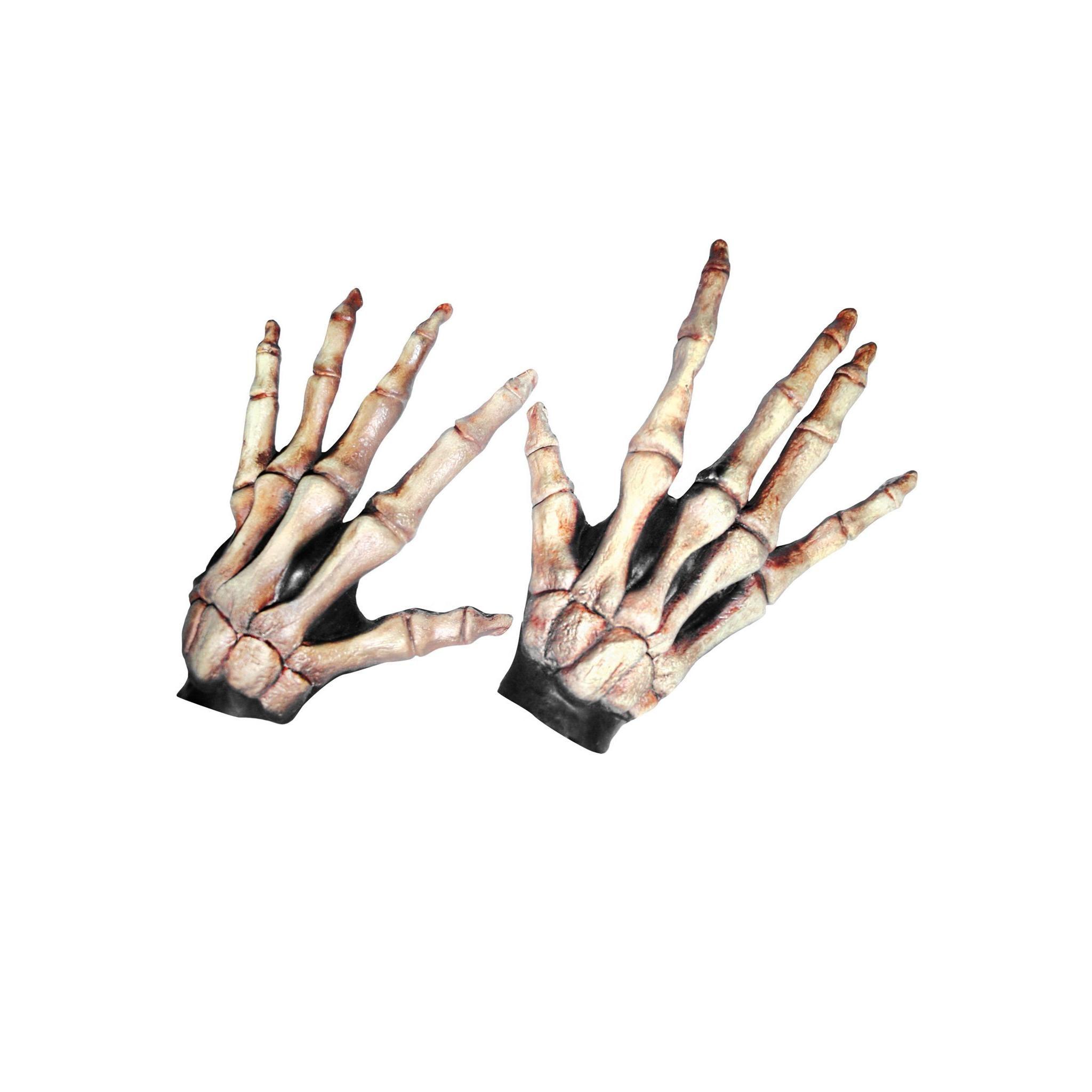 Ghoulish Productions Langfinger Skeletthände knochenfarben aus Latex