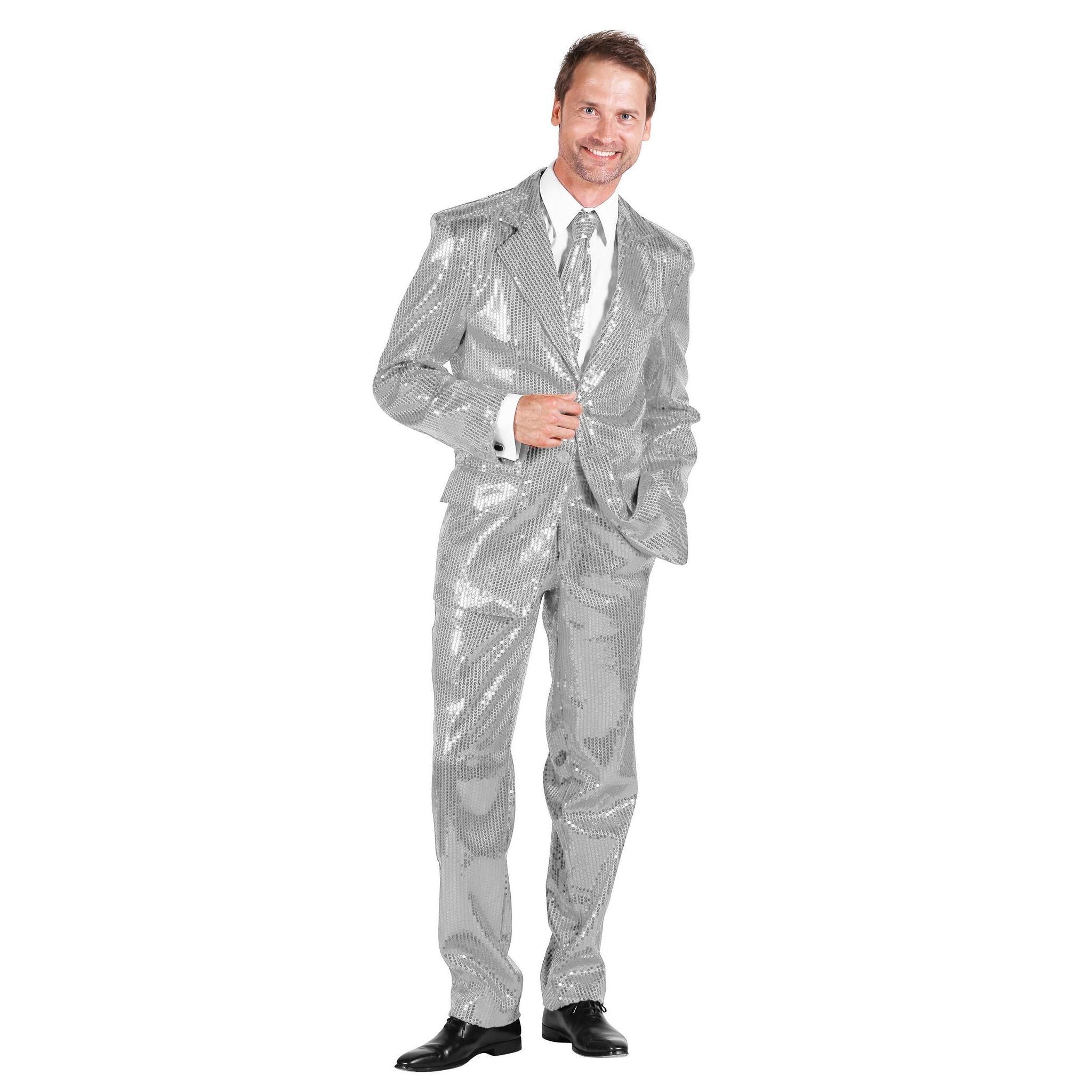 Thetru Schlagersänger Pailletten Anzug silber Kostüm