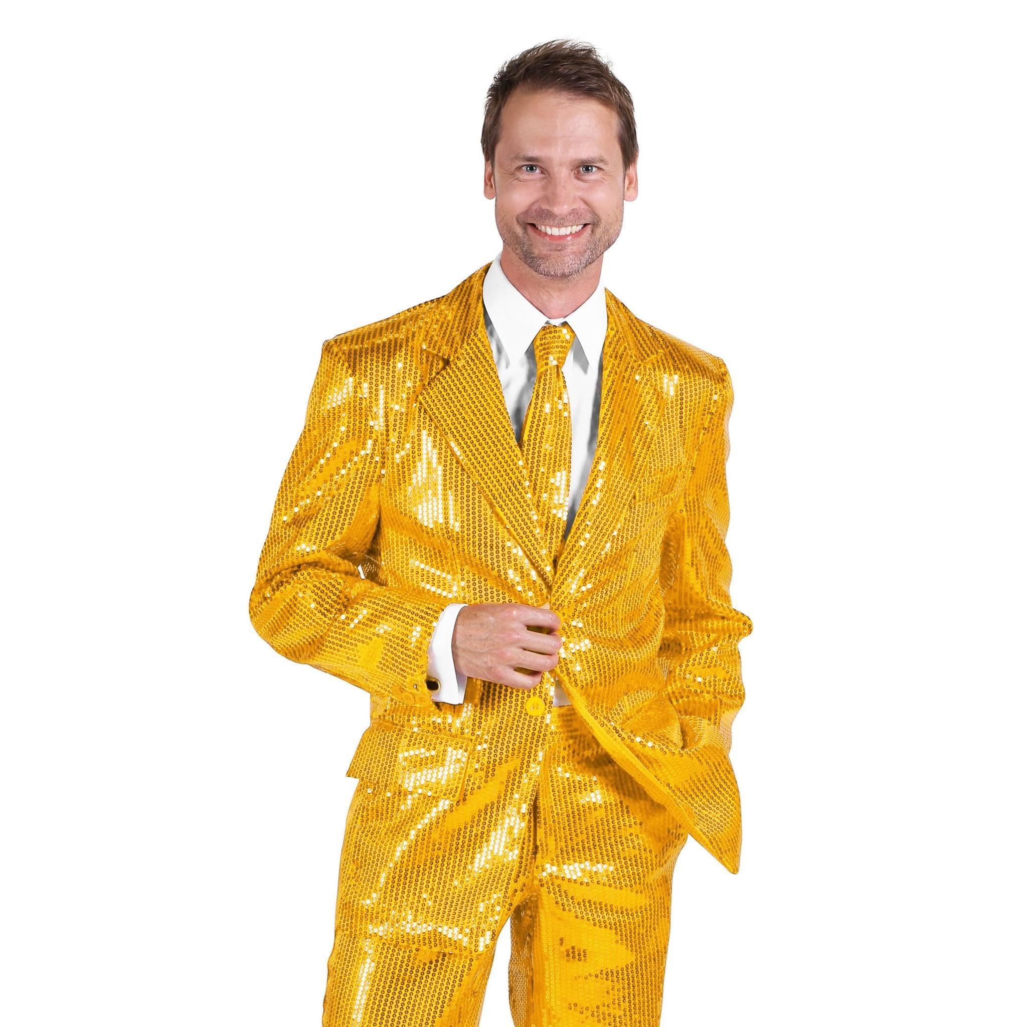 Thetru Schlagersänger Pailletten Anzug gold Kostüm