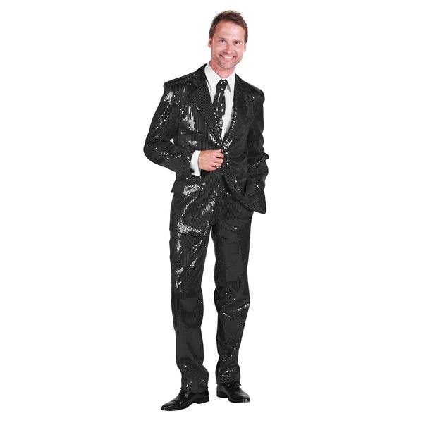 Thetru Schlagersänger Pailletten Anzug schwarz Kostüm