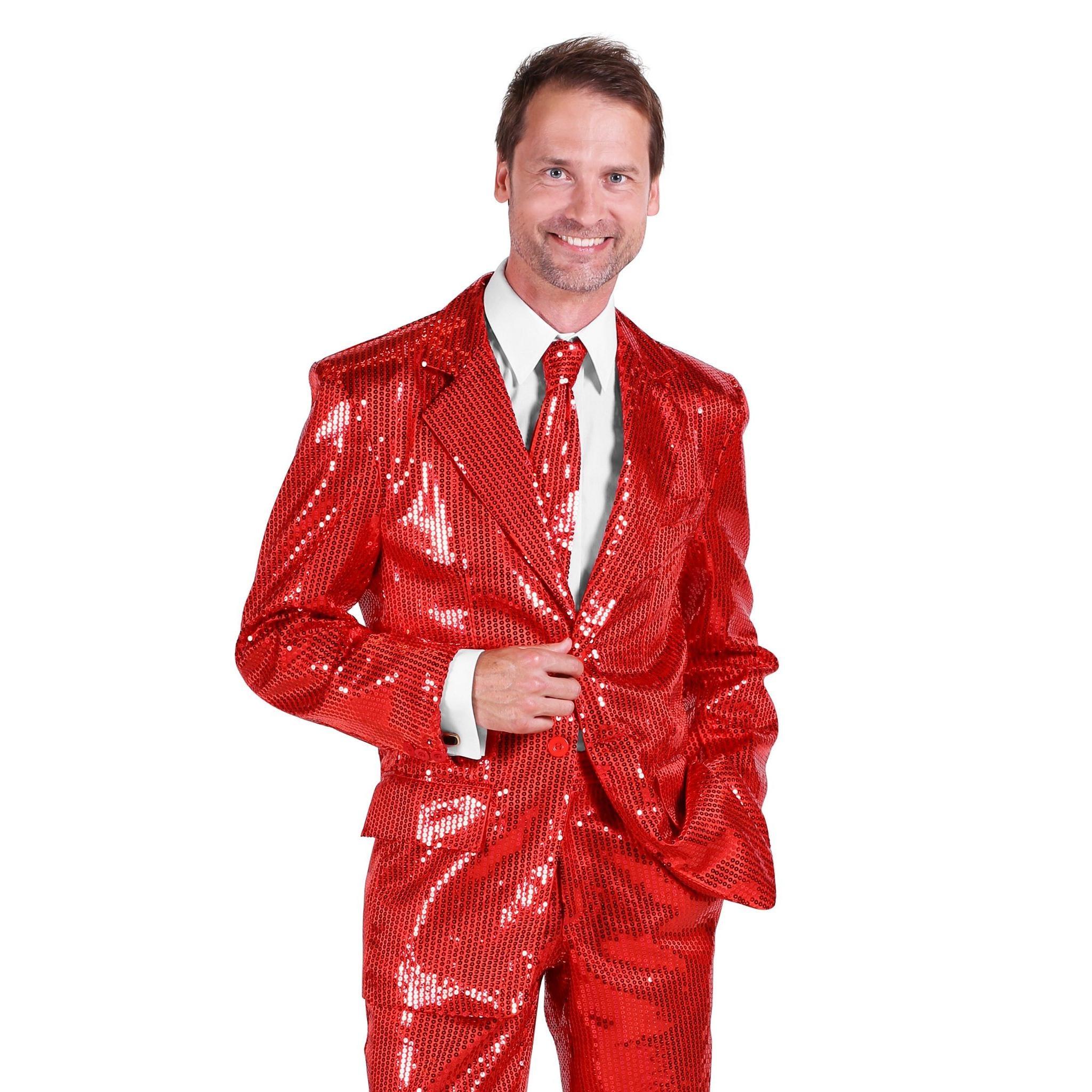 Thetru Schlagersänger Pailletten Anzug rot Kostüm