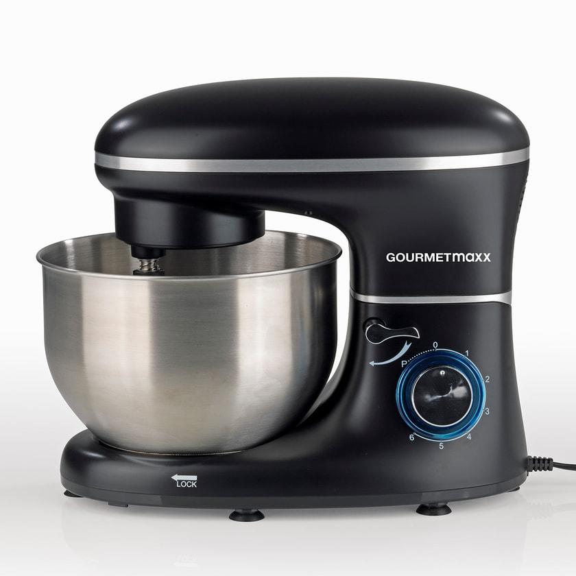 Gourmetmaxx Küchenmaschine mit 6 Geschwindigkeitsstufen und Turbofunktion schwarz