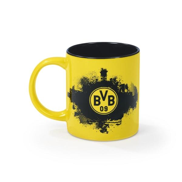 BVB Kaffeebecher - Borussia Dortmund Fanartikel - 350 ml - schwarz/gelb mit Logo