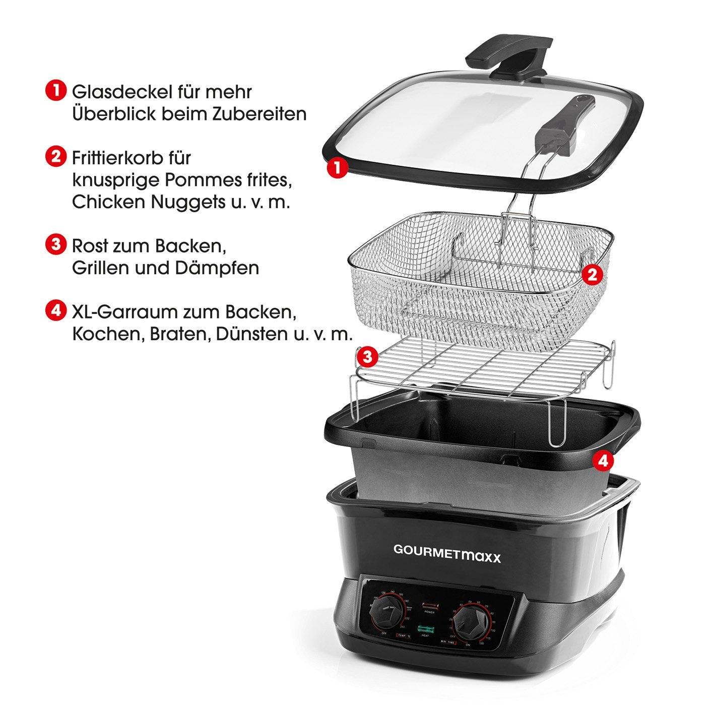GOURMETmaxx Multikocher - 8 l Fassungsvermögen - schwarz