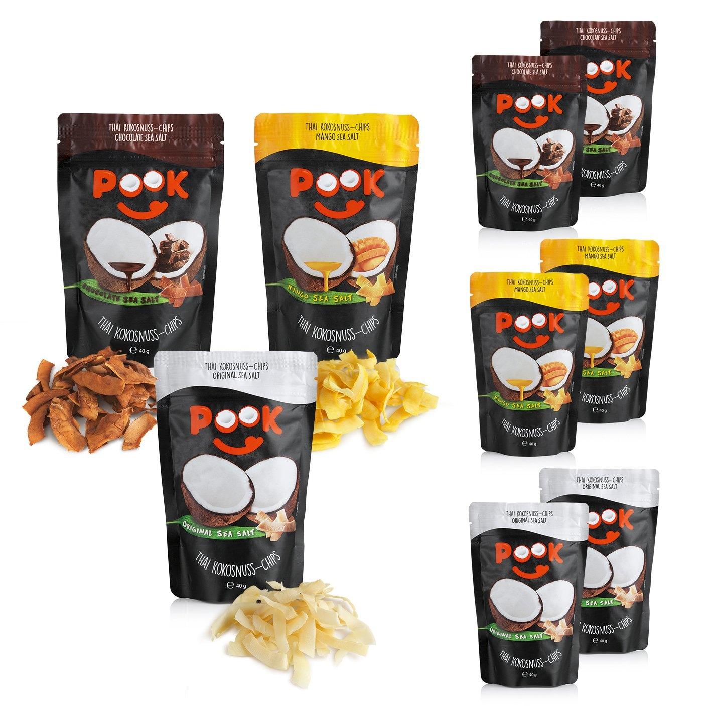 POOK Kokosnuss-Chips Set 9-tlg. 40g (3x Chocolate, Mango, Original)
