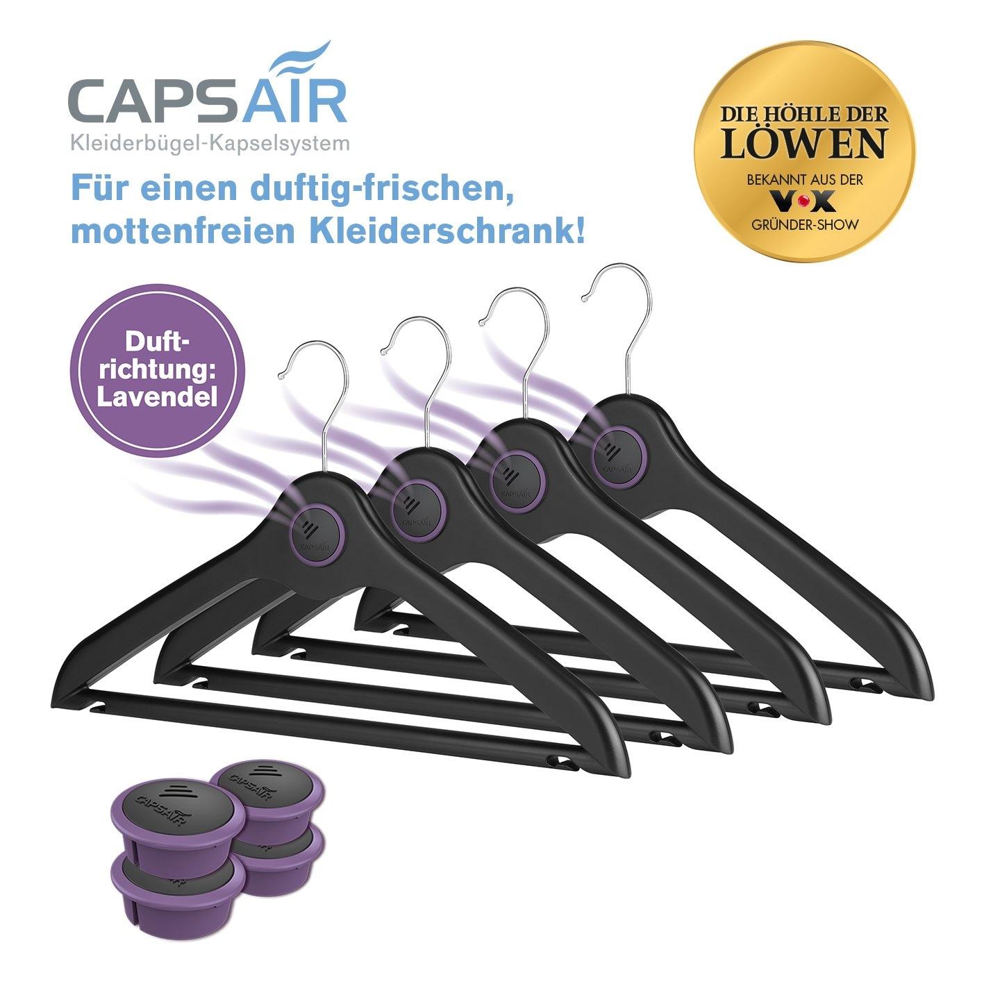 Caps Air Bügel 4er-Set schwarz mit 4 Kapseln Lavendel