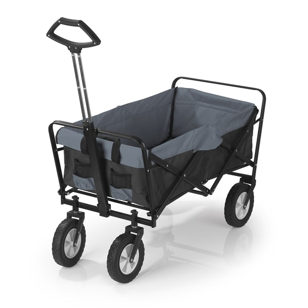EASYmaxx Bollerwagen faltbarer Tragfähigkeit bis ca. 80 kg - schwarz/grau