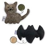 """CATLABS Katzenspielzeug 2er-Set - """"Kuschelige Katze"""" mit Katzenminze + """"Flauschige Fledermaus"""" mit Baldrianwurzel"""