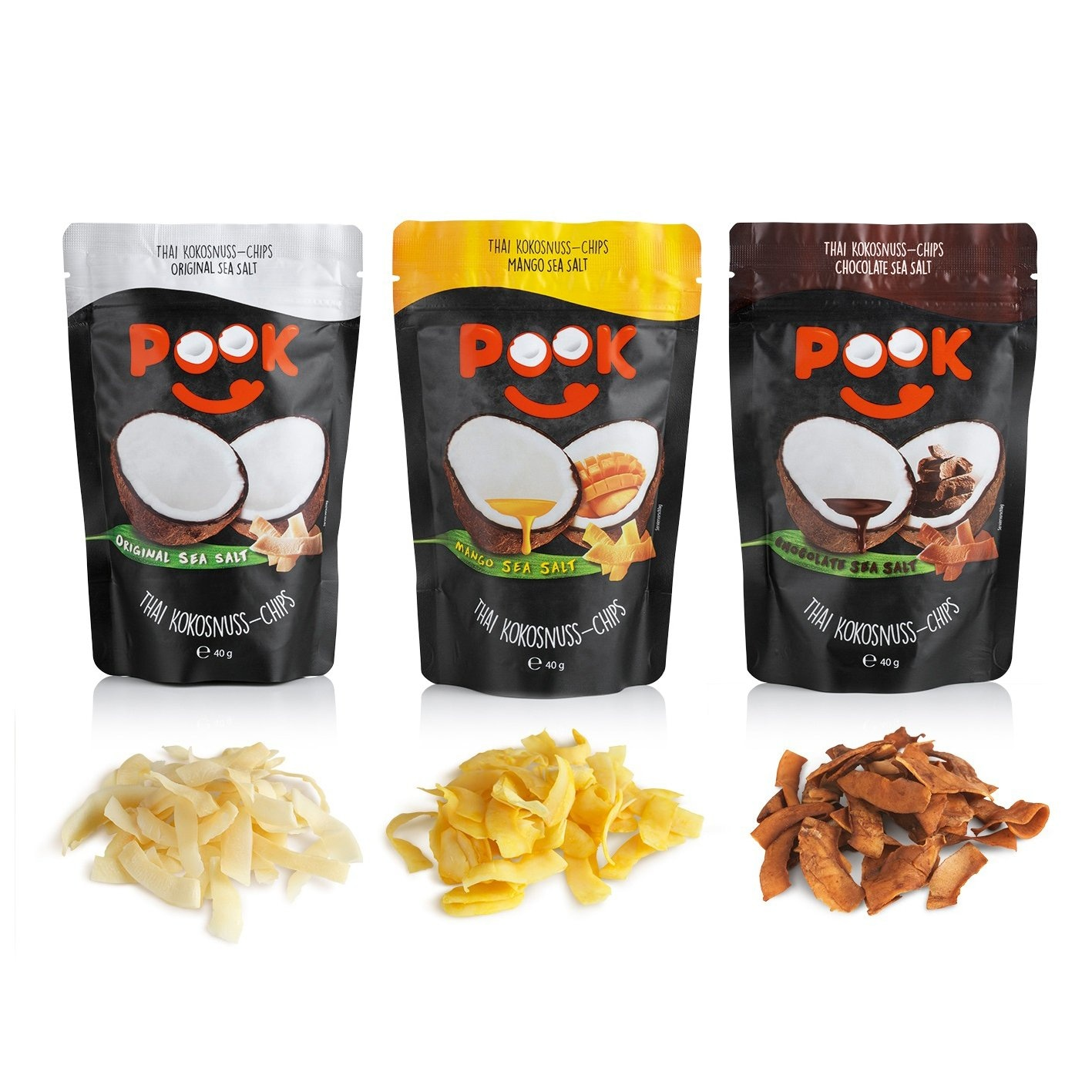 POOK Kokosnuss-Chips Chocolate Sea Salt 8er-Set 40g