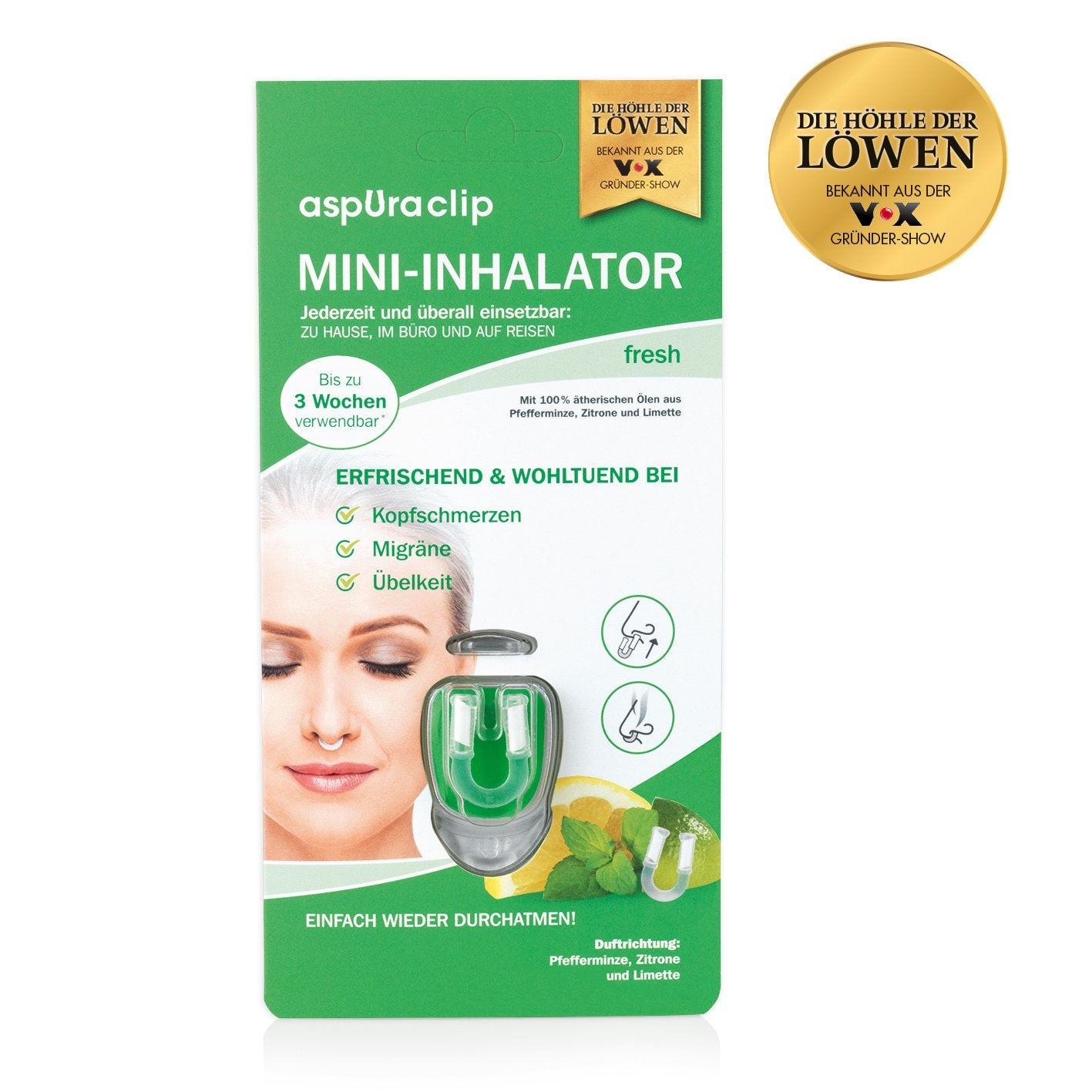 aspUraclip Mini-Inhalator 3x fresh