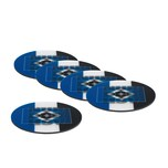 HSV Untersetzer 3D - 10,5 x 10,5 cm - 5er-Set - blau/weiß/schwarz mit Logo