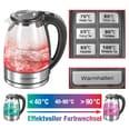 Gourmetmaxx LED-Wasserkocher Glas mit Temperaturwahl 1,7l 2000W Edelstahl schwarz