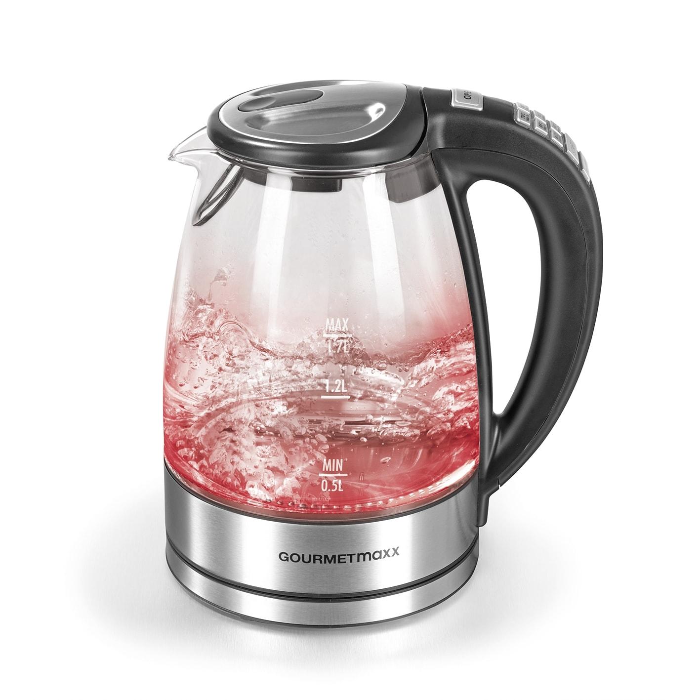 GourmetMaxx Wasserkocher Glas LED/Temperaturwahl 1,7l 2000W Edelstahl