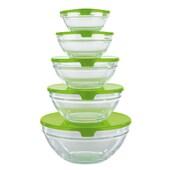 GOURMETmaxx Aufbewahrungs-Schüsseln Glas 10-tlg. in Limegreen