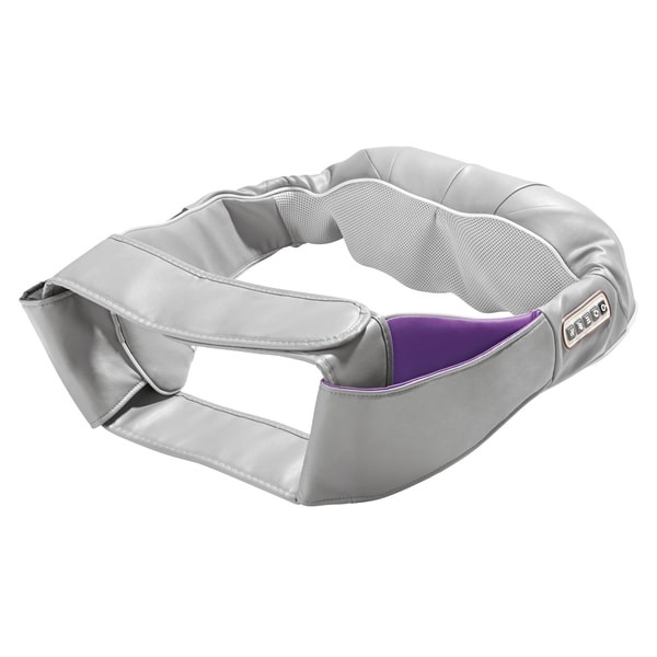 VITALmaxx Shiatsu-Massagegerät Nacken in Grau-Lila mit Gürtel