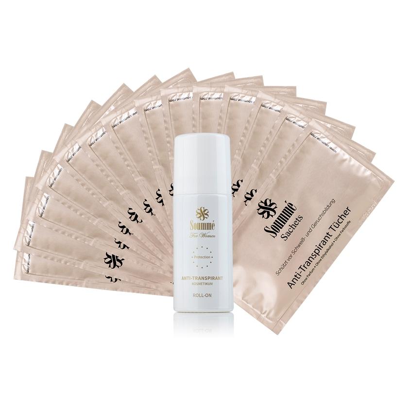 Soummé Protection For Women Antitranspirant Kosmetikum-Set 1 Roll-On & 14 Tücher