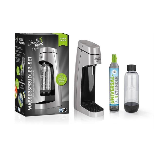 Soda Trend Style Wassersprudler inkl. PET-Flasche + CO2-Zylinder silber