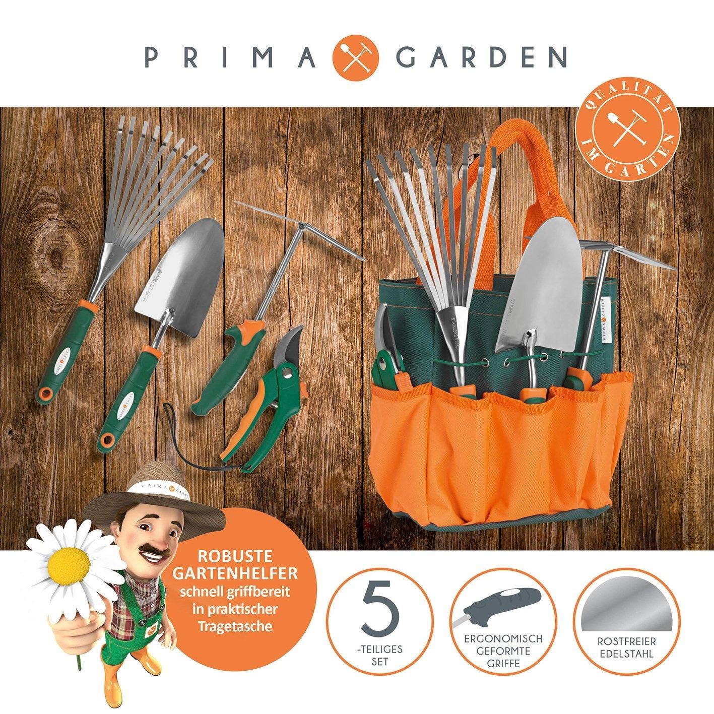 PRIMA GARDEN Garten-Kleingeräte-Set in Tragetasche - 5-tlg. Grundausstattung