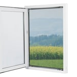 EASYmaxx Moskitonetz mit Pollenschutz mit Magnetbefestigung fürs Fenster 150 x 130 cm grau