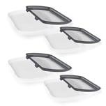 MAXXMEE Frischhalteplatten mit flexiblem Deckel - 8-tlg. - grau/weiß