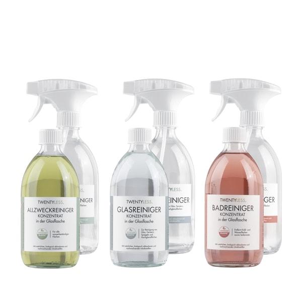 TWENTYLESS. Reinigungs-Set Allzweck, Glas und Bad (3x 500 ml Konzentrat inkl. 3 Sprühflaschen)