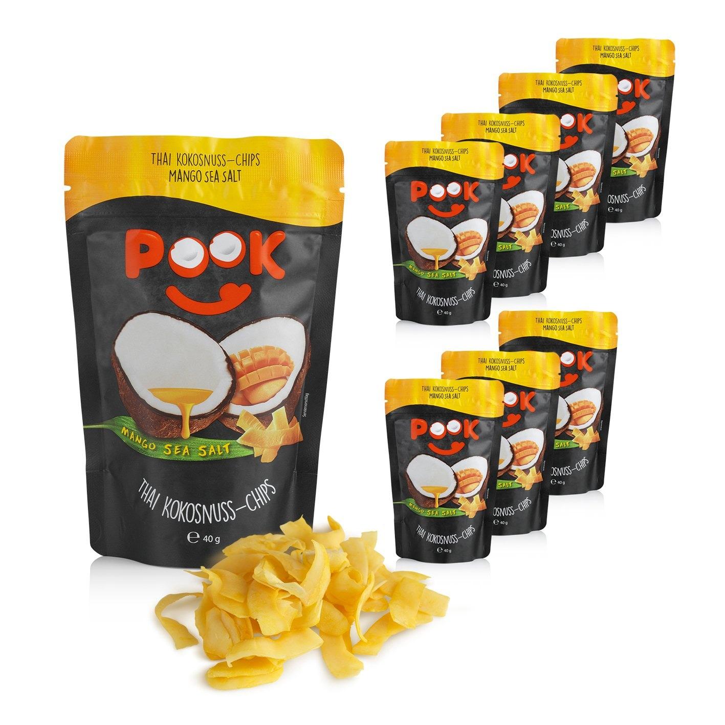 POOK Kokosnuss-Chips Mango Sea Salt 8er-Set 40g