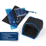 mysleepmask Schlafmaske inkl. 2x Gelpack 2x Ohrstöpsel schwarz/blau S/M, Kopfumfang ca. 54 -58 cm