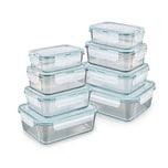 GOURMETmaxx Glas-Frischhaltedosen Klick-it - 16-tlg. - transparent/smaragd