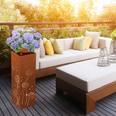 PRIMA GARDEN Dekosäule mit Pflanzschale im Edelrost-Design 72 cm hoch LED-Licht & Timer-Funktion