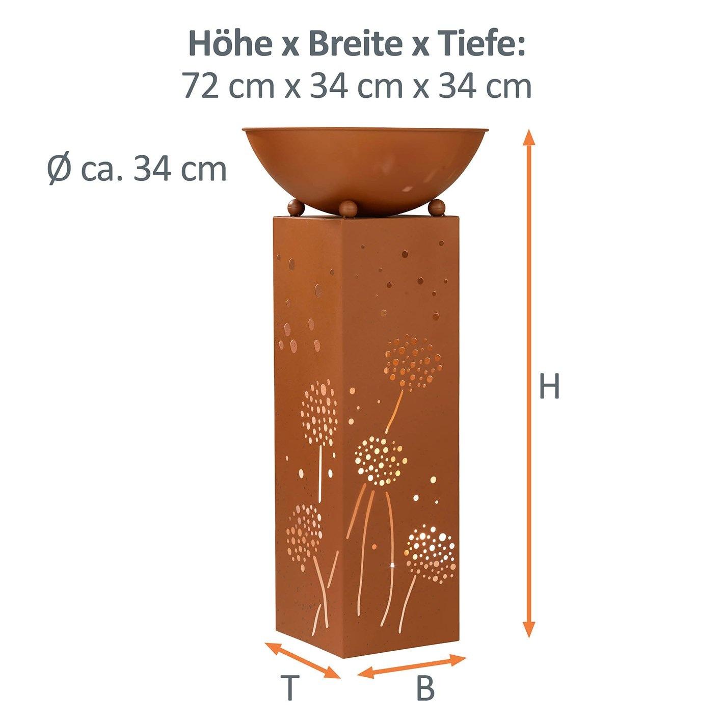 PRIMA GARDEN LED Dekosäule mit Pflanzschale im Edelrost-Design