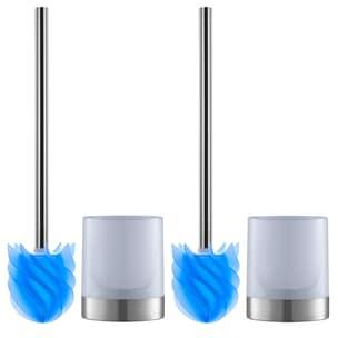 LOOMAID WC-Bürste Silikonkopf Edelstahl/blau mit Bürstenhalter - 2er-Set