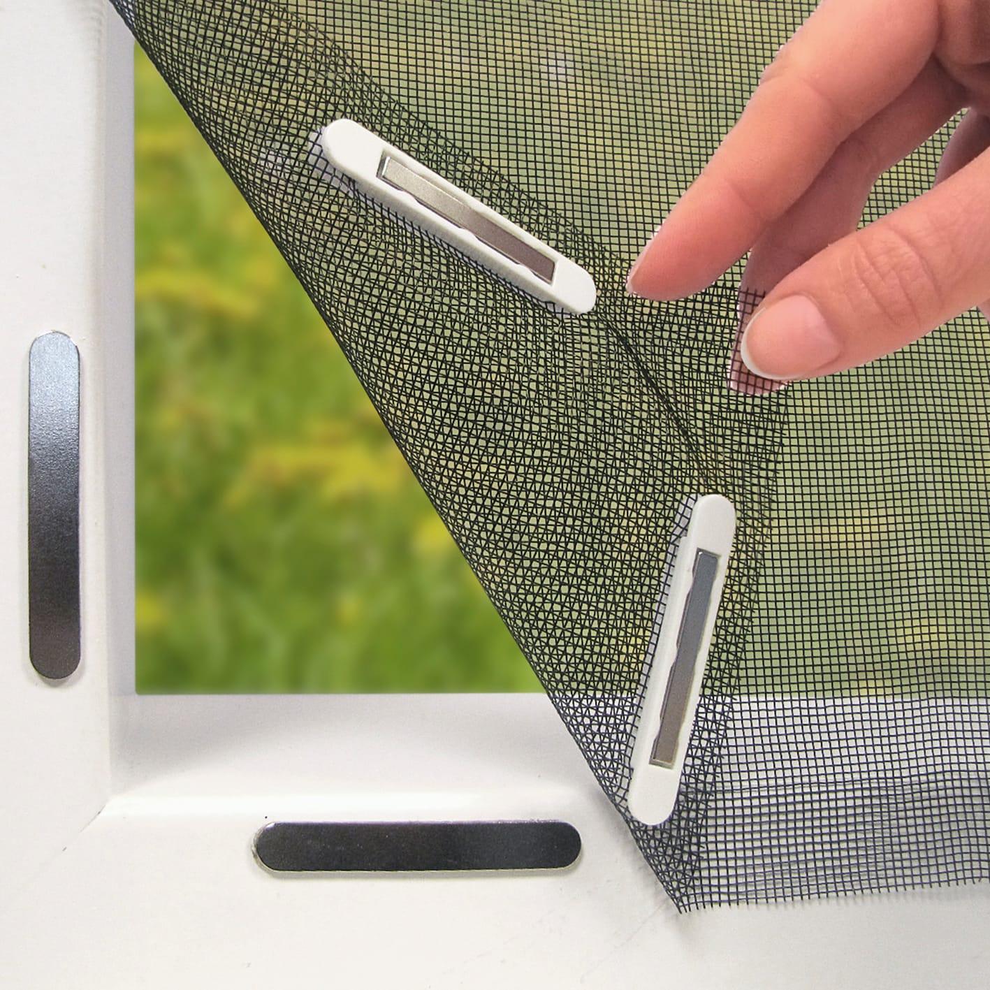 EASYmaxx Fenster-Moskitonetz mit Magnetbefestigung 150 x 130cm, schwarz