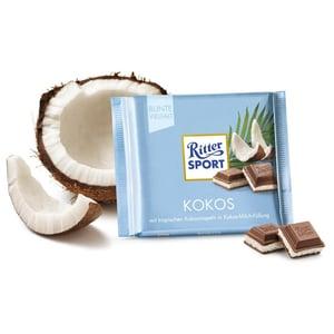 Ritter Sport Kokos mit Kokosraspeln Kokos Milchfüllung 100g 5er Pack