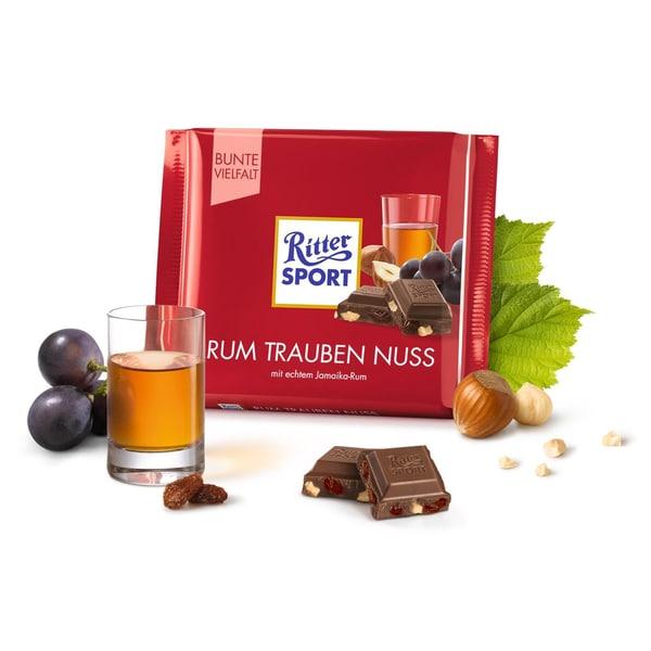 Ritter Sport Rum Trauben Nuß mit echtem Jamaika Rum 100g 12er Pack