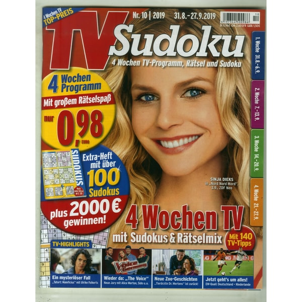 TV Sudoku 10/2019 4 Wochen TV