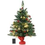 Homcom Christbaum mit Stechpalmenbeeren grün/rot/gold