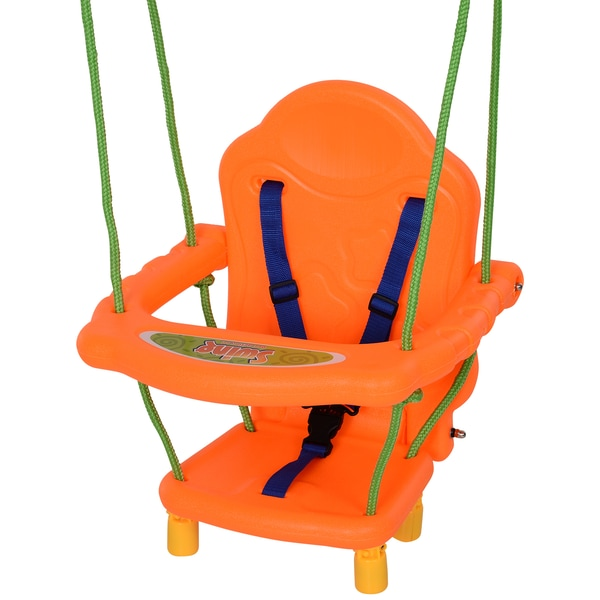 Homcom Kinderschaukelsitz mit Sicherheitsgurt orange/grün