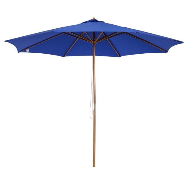 Outsunny Sonnenschirm mit leichtgängigem Seilzug blau