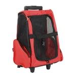 Pawhut 2 in 1 Hundetasche als Trolley oder Rucksack verwendbar rot-schwarz