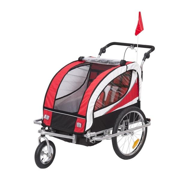 Homcom 2 in 1 Fahrradanhänger für 2 Kinder rot-schwarz