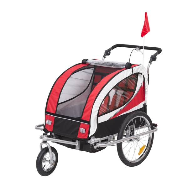 Homcom 2 in 1 Fahrradanhänger für 2 Kinder rot/schwarz