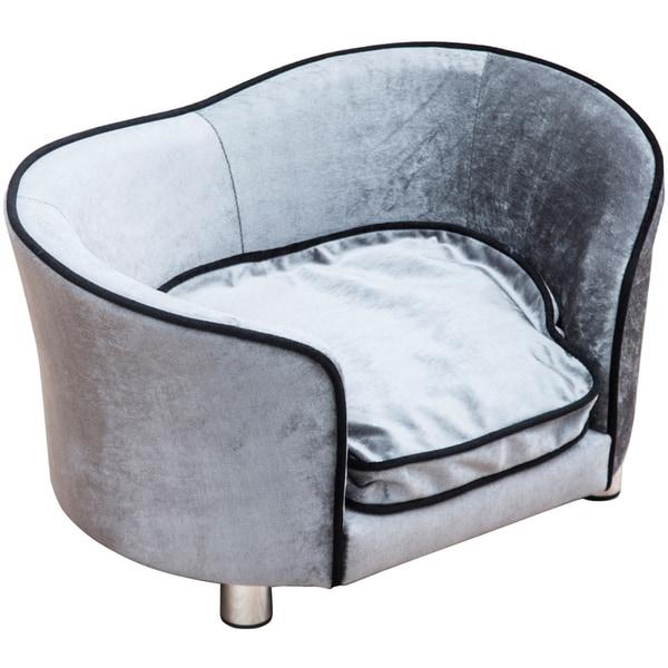 Pawhut Luxus Hundecouch mit einem weichen Kissen hellgrau