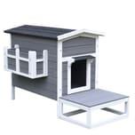 Pawhut Katzenhaus mit Terrasse und Balkon grau/weiß