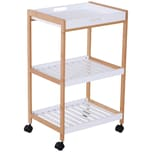 Homcom Küchenrollwagen mit abnehmbarem Serviertablett weiß/natur
