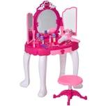 Homcom Kinderschminktisch mit Spiegel und Musik rosa/weiß