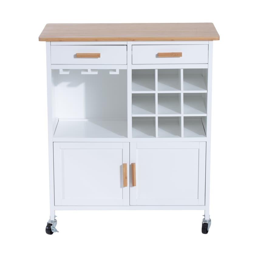 Homcom Küchenwagen mit Weinablage weiß/natur
