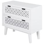 Homcom Nachttisch mit 2 Schubladen weiß