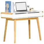 Homcom Schreibtisch mit Schubladen Weiß+Natur